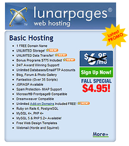 Lunarpages latest promotion