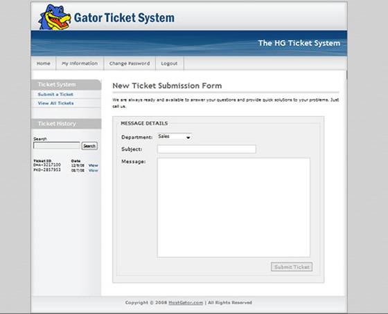 Hostgator new ticket system
