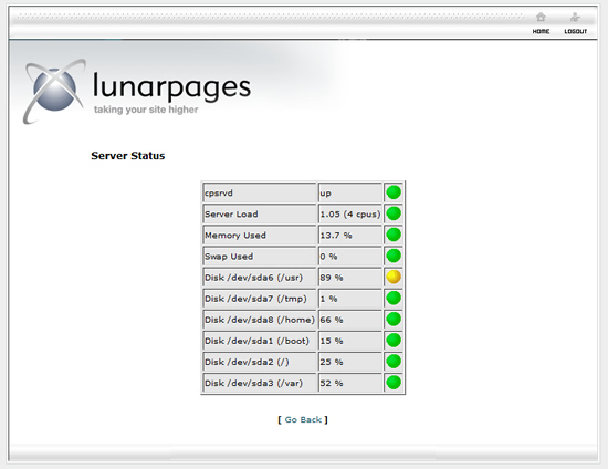 Lunarpages server status