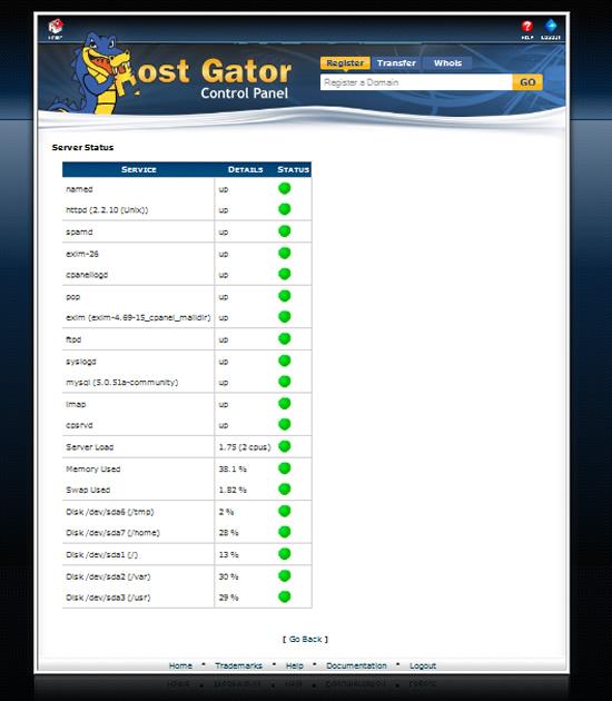 Hostgator server status
