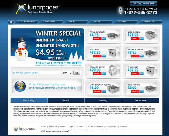 Lunarpages new web design