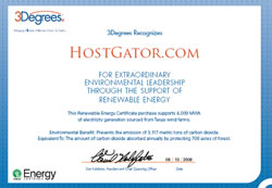 Hostgator Green Hosting Certs