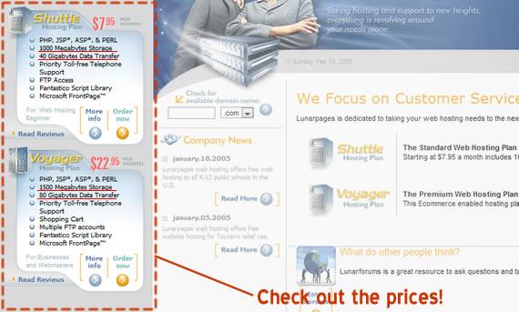 Lunarpages cheap web hosting deals