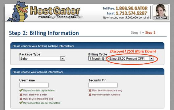 Using Coupon Code at Hostgator