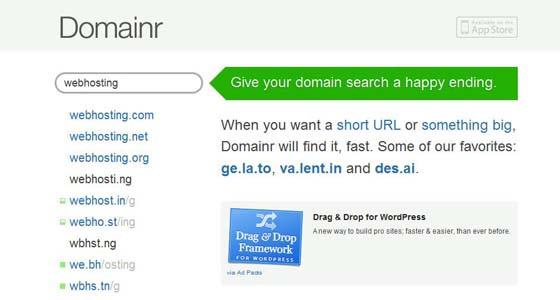 Domainr screenshot