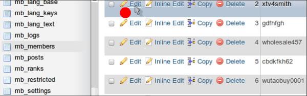 XMB 포럼 회원 목록 MySQL