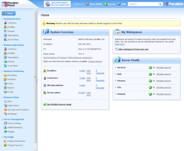Compare web hosting control panel - About Plesk PSA