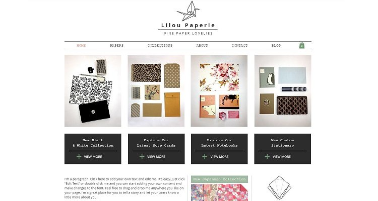 Template situs web eCommerce Wix gratis - Lilou Paperie