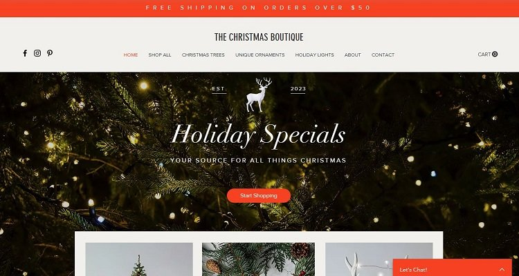 Christmas Boutique - Wix free eCommerce website template
