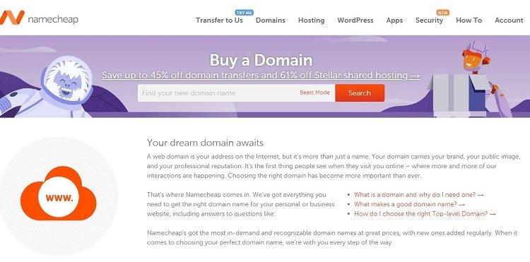 Namecheap-domeinregistrateur - bedien nou byna 2 miljoen klante en bestuur meer as 9 miljoen domeine.