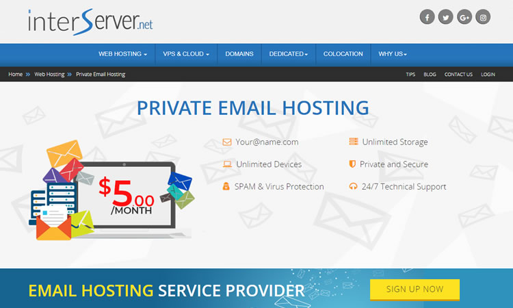 Interserver in bundle e hosting di posta elettronica dedicato