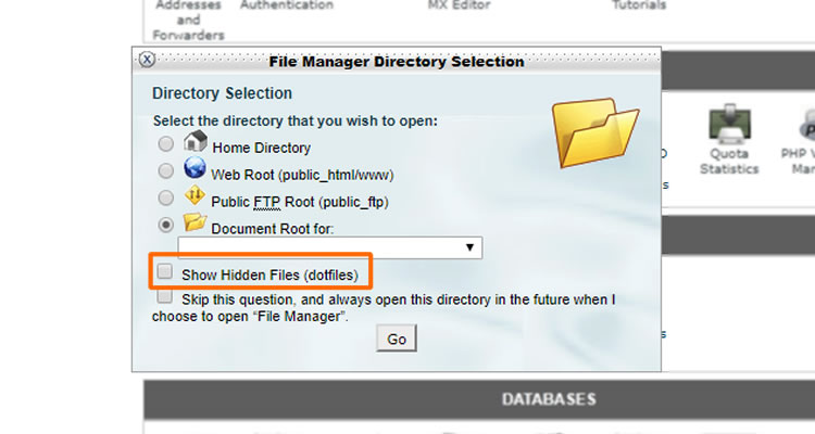Find .htaccess file - How to show hidden files in cPanel file manager