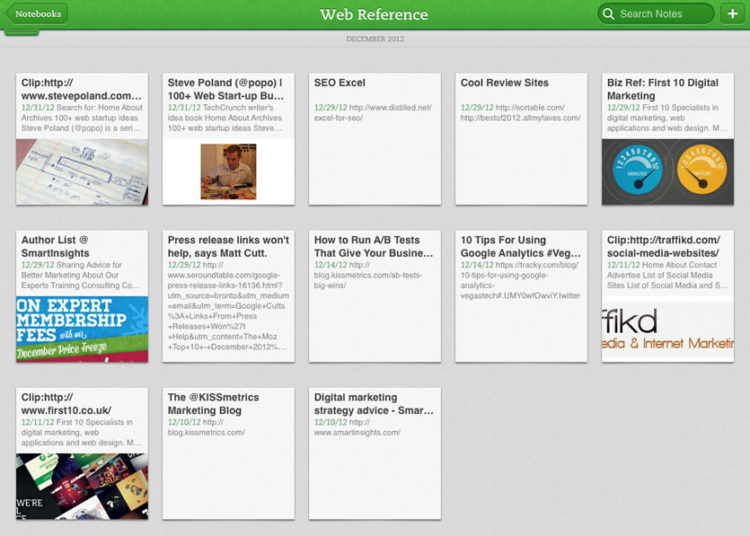 Mi referencia web en Evernote