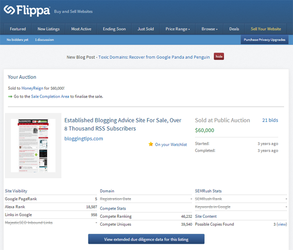 Flippa Auction