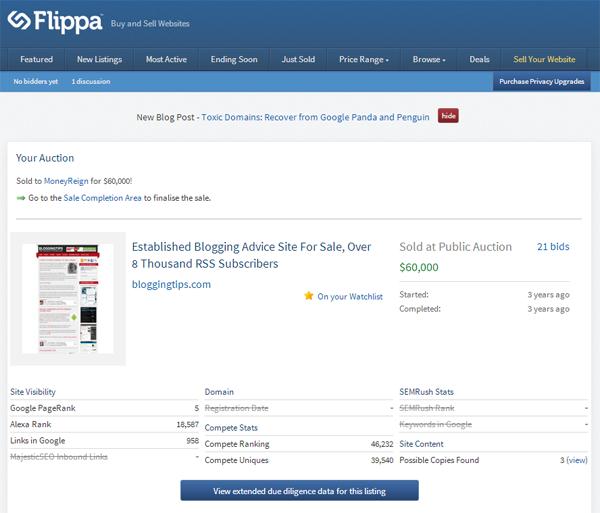 Flippa Auction