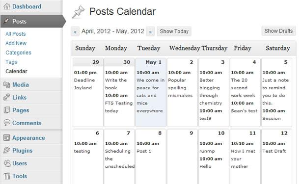 Kalendarz wydawniczy WordPress