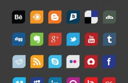 Leaf - Flat Design Social Media Icons