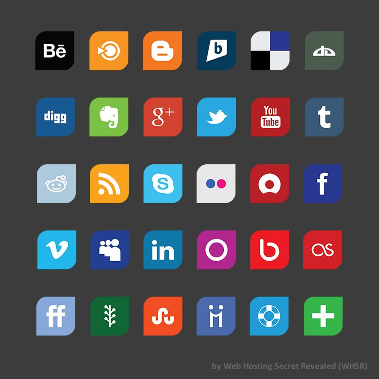 Leaf Flat Design Social Media Icon Set Whsr