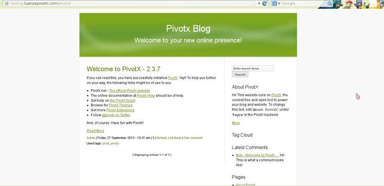 Homepage di PivotX