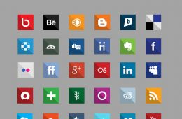 Icone piane di Social Media gratuite - Square
