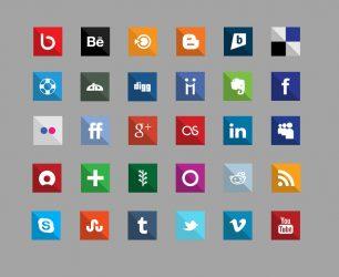 Icônes gratuites de médias sociaux - Carré