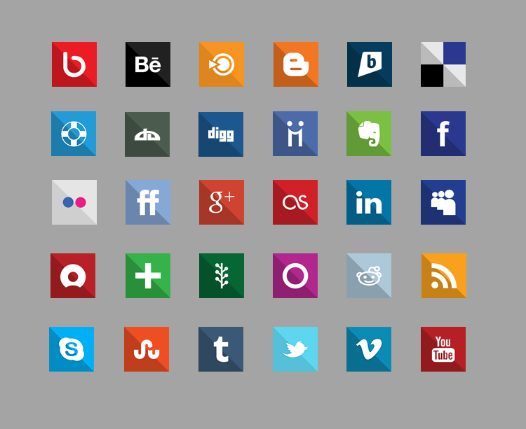 Square 30 Flat Design Social Media Icons Whsr