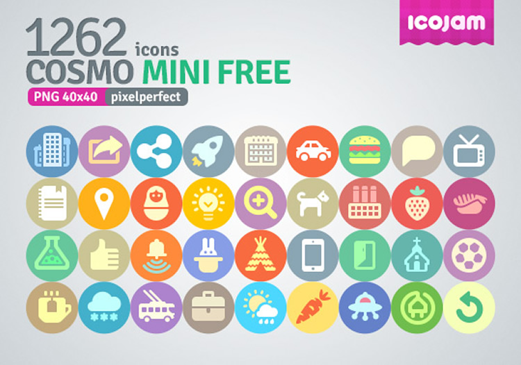 flat icon set - cosmo mini