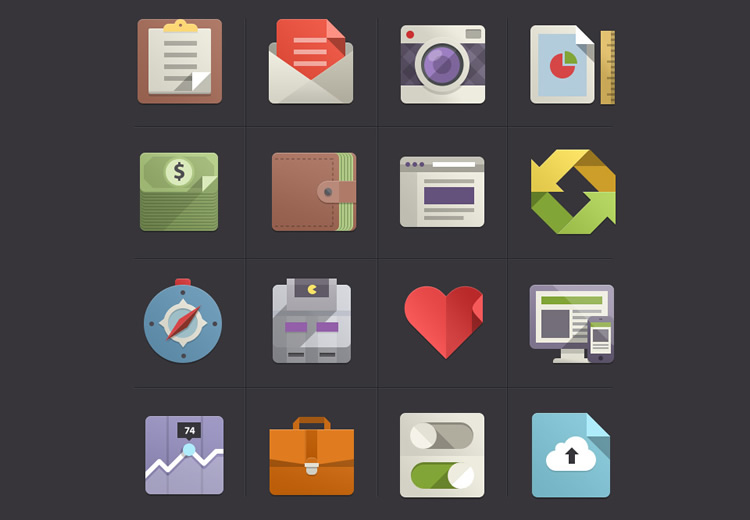 flat icon set - google inspired 2