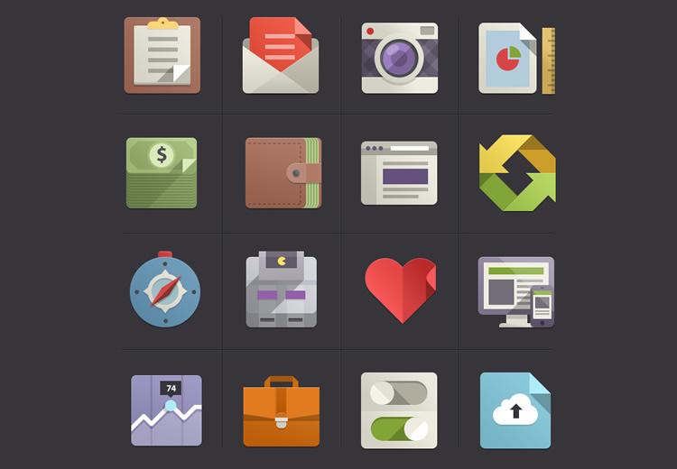 flat icon set - google inspired 2
