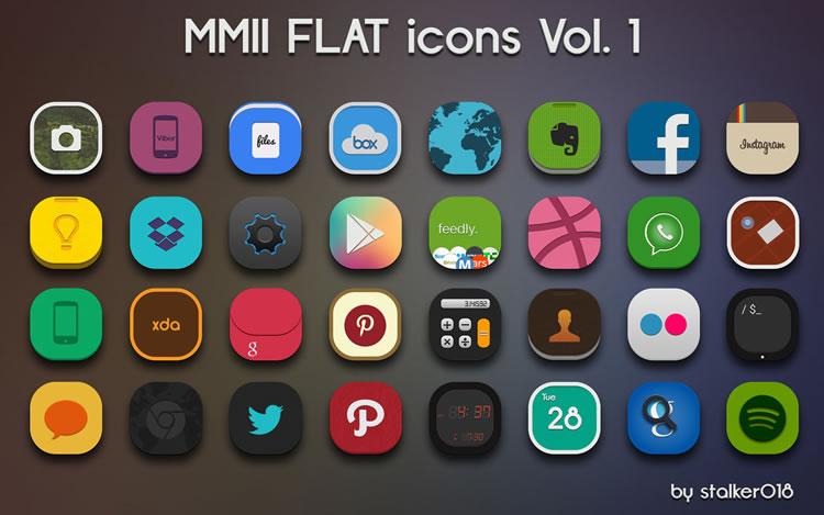 düz Icon set - mmii