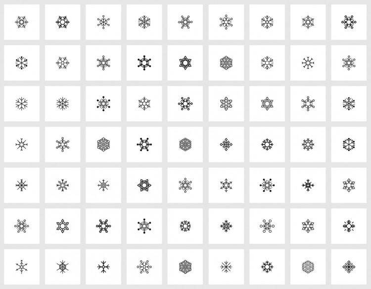 zestaw ikon płaski - płatki śniegu