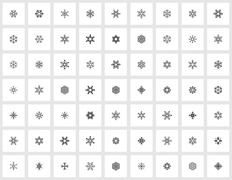 plat ikoon stel - sneeuvlokkies