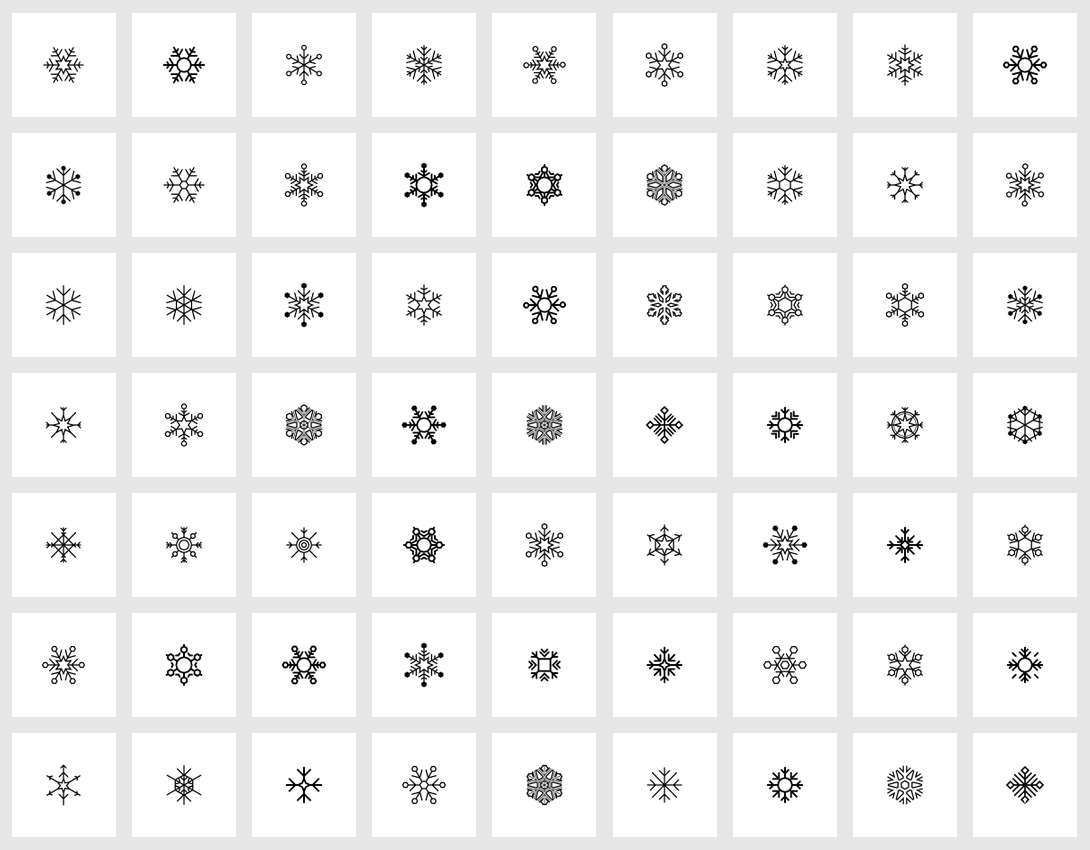 flat icon set - snowflakes