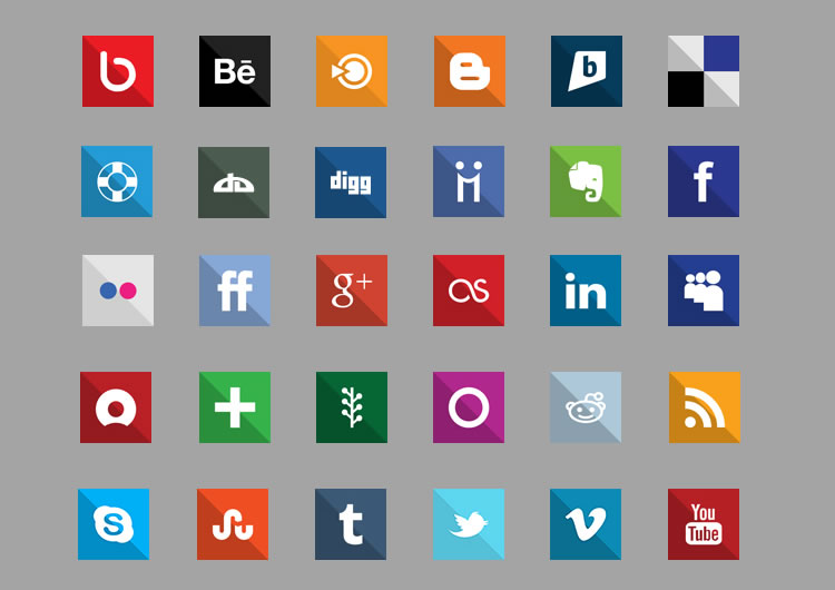 flat icon set - square