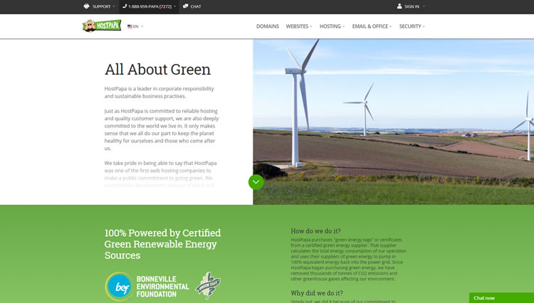 HostPapa created a dedicated page to talk about company's go-green policy (see it live here).