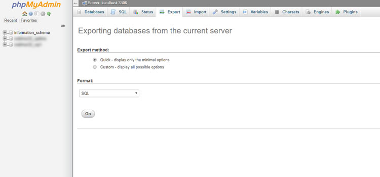 Exporting and transferring databases using phpMyAdmin