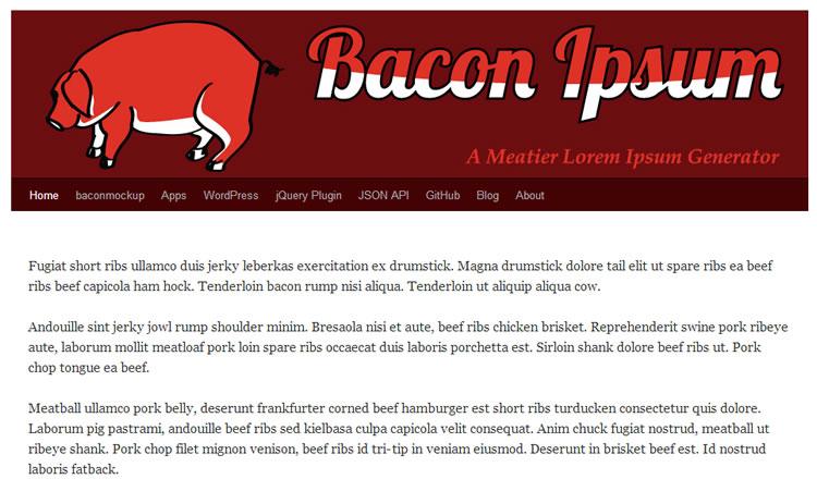 Baconipsum - haga clic en la imagen para visitar en línea.