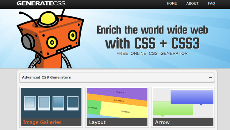 Advance CSS/CSS3 generator - generates tons of web elements such as button, sliders, table, or even text effects in CSS/CSS3.
