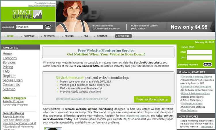 Service Uptime Homepage