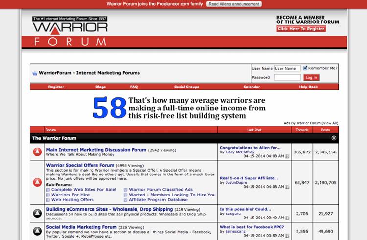 Freelancer.com Pays $3.2M To Buy Digital Marketing Marketplace, Warrior Forum.