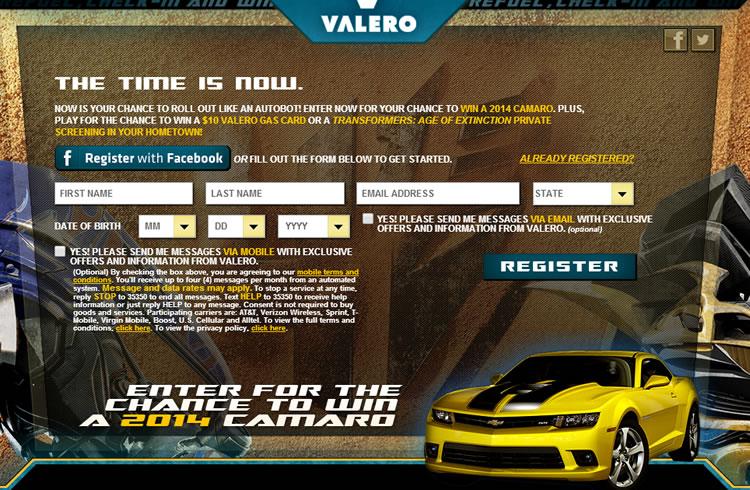 Valero's Rumble with Bumblebee™ Camaro Giveaway