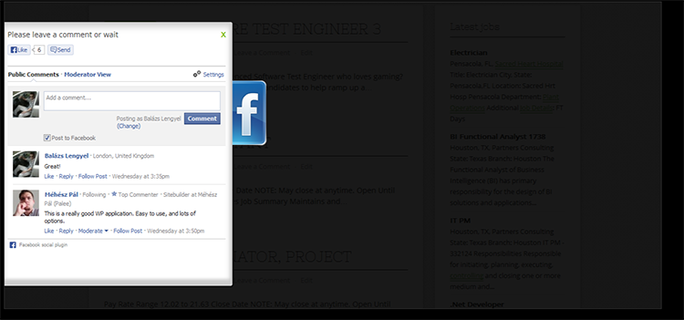 Slider dei commenti di Facebook per WordPress - CodeCanyon Previewer