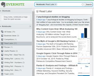Evernote'ta notlarımın görüntüsü.
