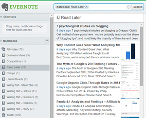 Evernote இல் உள்ள எனது குறிப்புகளின் நொடிப்பு.