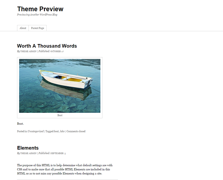 Theme Preview   Previewing Another WordPress Blog