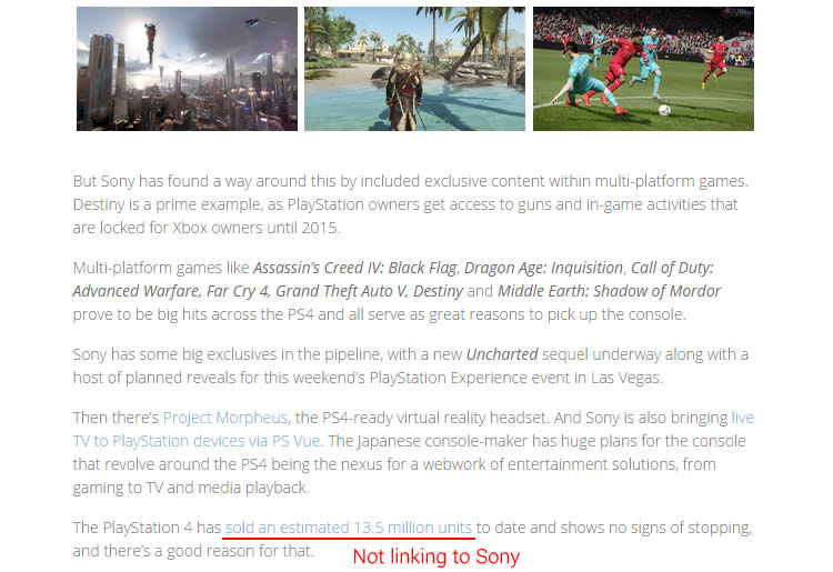 This is a screen captured from BSN - a popular news site for gamers. Note that the author is linking to Game Spot as the news source instead of the original Sony's blopost
