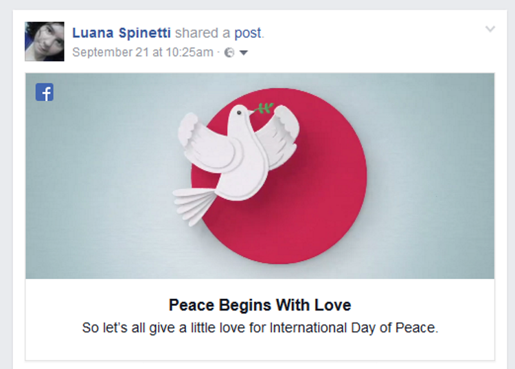 Facebook's International Peace Day prompt