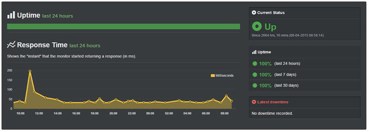 Site has been staying up for the past 2664+ hours. Impressive work!