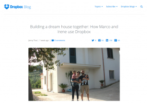 Dropbox uses customer interviews and beautiful photos to liven up their blog.
