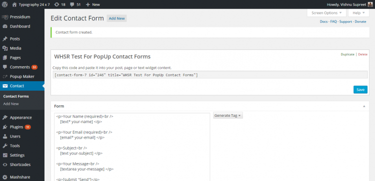 Contact Form 7 new form